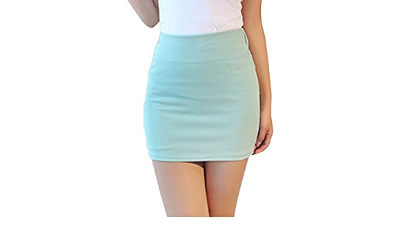 SaiDeng Mujer Elegante Elástico Color Puro Cintura Alta Mini Falda ...