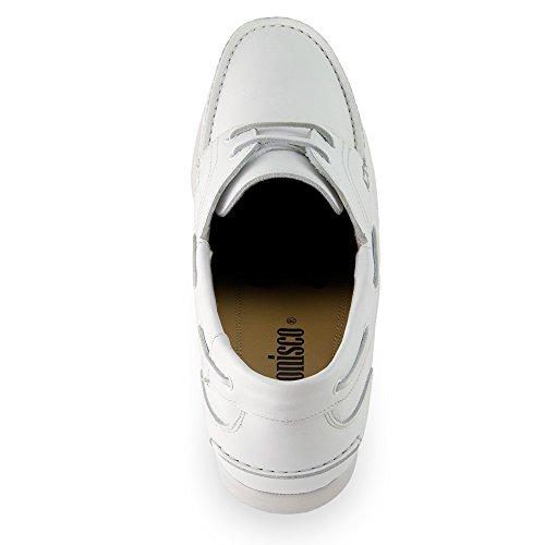 Masaltos Zapatos de Hombre con Alzas Que Aumentan Altura Hasta 7 cm. Fabricados EN Piel. Modelo Portonovo Blanco