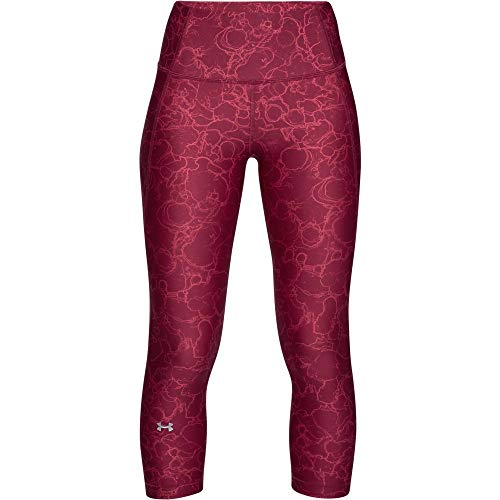 Under Armour Women's HeatGear Armour Print Capri, Impulse Pink (671)/Metallic Silver, Large