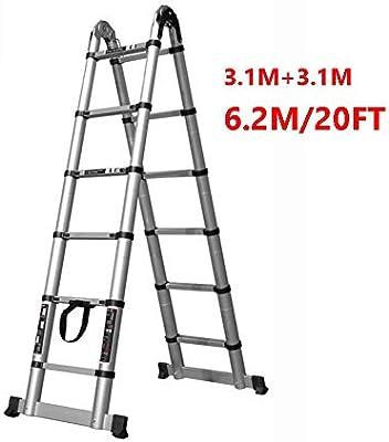 Escalera telescópica 3.1M + 3.1M (20 ft) Aluminio EN131 Tipo A, Escalera Multiusos de extensión Profesional Resistente, Capacidad máxima 330 LB: Amazon.es: Hogar