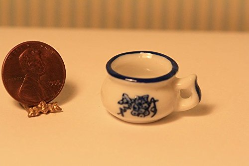 Artisan Hand Made Dollhouse Miniature Ceramic Chamber Pot in Blue & White