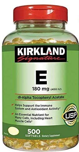 Kirkland Signature Vitamin E 400 I.U. 500 Softgels, Bottle, Yellow