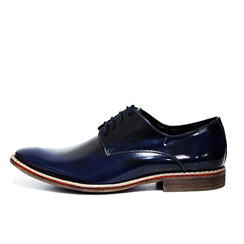 Ponte Chaussures pour Marine Cuir Verni Cuir Oxfords Cuir Handmade Modello des Vachette Bleu de Lacer Hommes Italiennes dqzpI