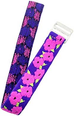 Timex Youth | Kids Elastic Strap 16mm | Purple, Pink & Green Floral Design Band Fits Timex T7B151, T89022, T89001, TW7B99500, & More..