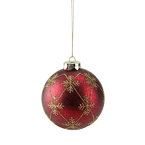 Northlight Burgundy Red with Gold Glitter Snowflakes Mercury Glass Ball Christmas Ornament 3.25