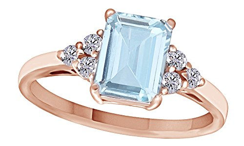 14k Gold Us Marine (Simulated Blue Aquamarine & White Topaz CZ Fashion Ring in 14k Rose Gold Over Sterling Silver (1.67 Cttw))