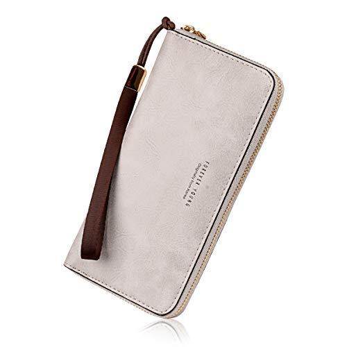 Wallets for Women, Long Leather Checkbook Card Holder Purse Zipper Buckle Elegant Clutch Ladies Wallet Coin Purse -