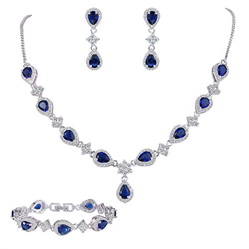 Jewelry Costume Formal (EleQueen Women's Silver-Tone Cubic Zirconia Teardrop Flower Bridal V-Necklace Set Tennis Bracelet Dangle Earrings Sapphire Color)