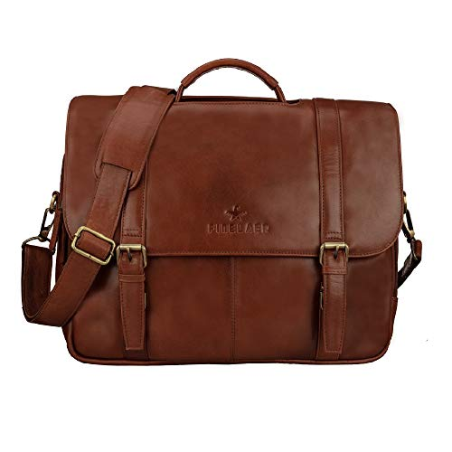 FINELAER Brown Leather Flap Over 15.6 inch Laptop Briefcase