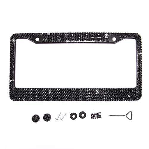 Handmade Waterproof Classic Black Bling Crystal License Plate Frame Cute Rhinestone License Plate Holder for Cars/SUV/Truck