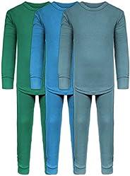 Boys Long John Ultra-Soft Cotton Stretch Base Layer Underwear Sets / 3 Long Sleeve Tops + 3 Long Pants - 6 Pie