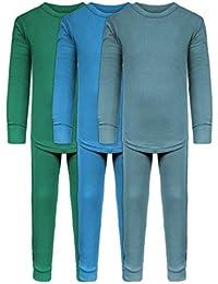 77c6c1e3a Boys Long John Ultra-Soft Cotton Stretch Base Layer Underwear Sets / 3 Long  Sleeve