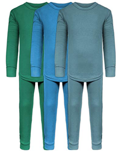 Boys Long John Ultra-Soft Cotton Stretch Base Layer Underwear Sets / 3 Long Sleeve Tops + 3 Long Pants - 6 Piece Mix & Match (3 Sets / 6 Pc - Evergreen/Blue/Arctic, 2T/3T) (Mix Soft Cotton)