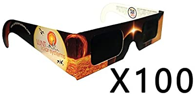 100-Pack Premium Lunt Solar Sunsafe Certified Eclipse Viewing Glasses
