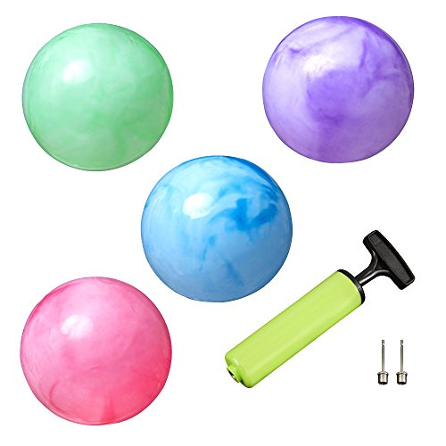 Marbleized Rubber Balls (Set of 4) for Kids Play with 2 Pins & Pump by New Bounce|Durable Indoor / Outdoor Toys for Children|Fun Bouncing Balls|Great for Party Favors, Birthdays, Sports Activities