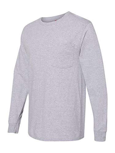 (Hanes Men's Workwear Long-Sleeve Pocket T-Shirt, Light Steel, Small)