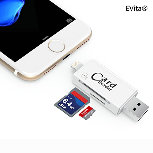 EVita Lightning to SD Card Camera Reader Adapter, SD Card TF Card 2 in 1 with USB 3.0/2.0 for Apple iPhone 5/5S/6/6S/SE/7/7 Plus/8 and iPad(White)