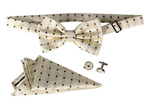 Peach Couture Mens Tuxedo Pre-tied Adjustable Neck Bowtie Bow Tie Cufflinks Pocket Square Set Polka Dot Tan