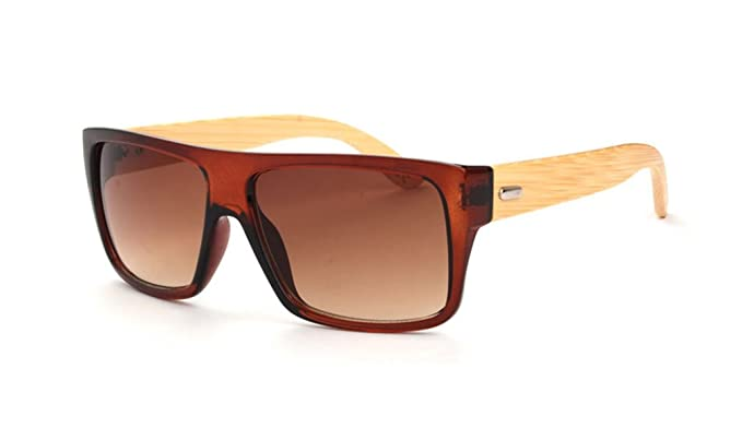 3457d4960e1 Amazon.com  SUASI Uv Protection Sports Glasses Cycling Wood Sunglasses with  Bamboo Legs for Riding Driving Fishing Running Golf Yj00121 (brown)   Clothing