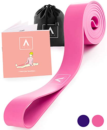Stretch Band for Ballet and Gymnastics | Kids & Adults | Stretching Band for Dance, Flexibility, Cheerleading, Ice Skating, Yoga, Pilates + Exercise Booklet (Pink) (Skating Ice Dance)