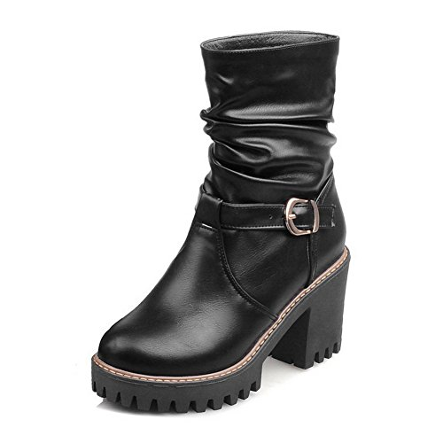 Toe Heel AdeeSu Imitated Boots Buckle Leather Round Ladies Wheeled Black Shoes wqqYrtfa