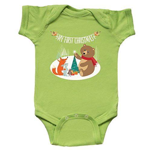 1st Christmas Infant Creeper - inktastic First Christmas Woodland Infant Creeper 6 Months Key Lime 311c9
