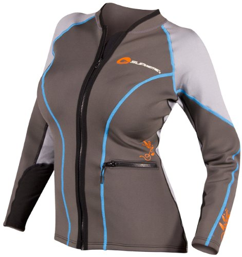 SUPreme Women's Catch 1.5mm Poly Hybrid Jacket, Light/Dark Gray, 8 - Standup Paddleboarding, Kayaking & Water Sports by Supreme