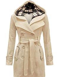 Hooded Women Coat Belt Long Thick Overcoat Slim Plain Button Pocket Wool Coats