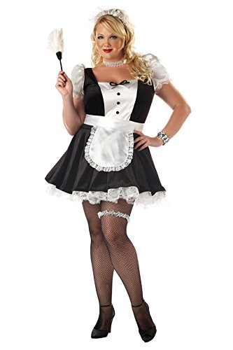 California Costumes Women's Plus-Size Fiona The French Maid Plus, Black/White, 3XL French Maid Plus Size