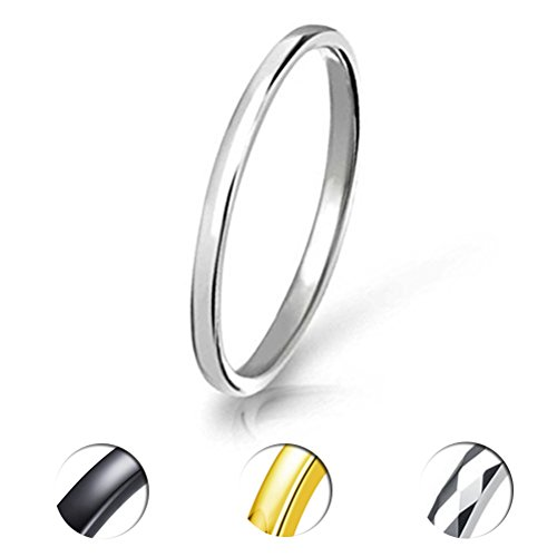 Three Keys 2mm Tungsten Wedding Ring for Women Classic Wedding Band Engagement Ring Silver Black Gold