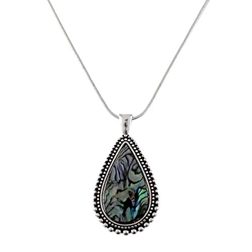 "Elosee Abalone and Mother of Pearl Filigree Pendant Snake Chain Necklace 18"" (Tear Drop-Abalone)"