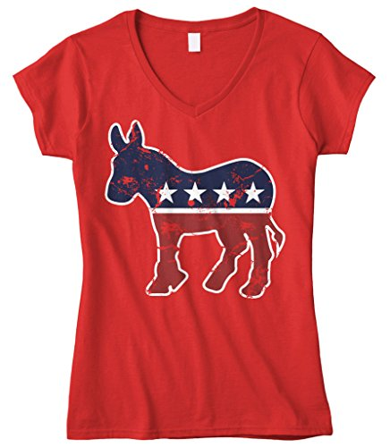 Cybertela Women's Faded Democrat Donkey Fitted V-Neck T-Shirt (Red, Small)