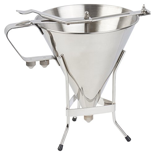 The #1 Professional Confectionery FUNNEL + sturdy STAND with 3 NOZZLES - Premium commercial quality stainless steel - 7-1/2 inch Diameter - Every chef's best friend- By The Kitchen Panda ()
