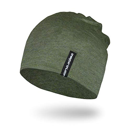 Empirelion Slouch Beanies Knit Hat Thin Running Lightweight Skull Cap for Men Women (Olive Green Melange)