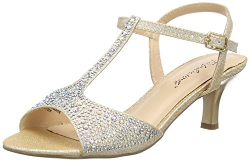 (Pleaser Women's Aud05/nufa Heeled Sandal, Nude Shimmering Fabric, 8 M US)