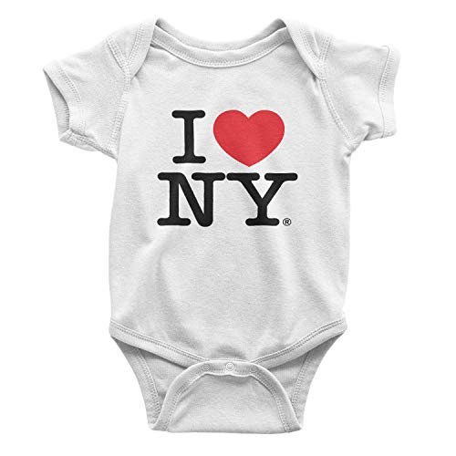I Love NY New York Baby Infant Screen Printed Heart Bodysuit White Medium 12