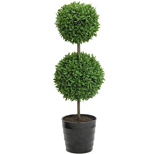 Admired By Nature 18'' Tall Artificial Tabletop English Boxwood Double Ball Shaped Topiary Plant in Plastic Pot, Green by Admired By Nature