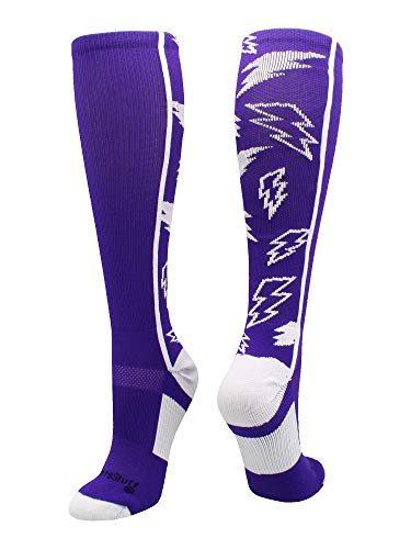 MadSportsStuff Crazy Socks with Lightning Bolts (Purple/White, Small)