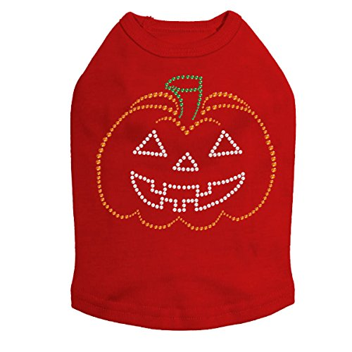 Jack-o-Lantern Outline - Halloween and Fall Dog Rhinestone Bling Shirt, L -