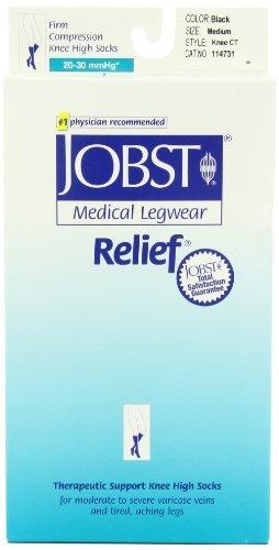 JOBST Relief Knee High 20-30 mmHg Compression Socks, Closed Toe, Black, Medium
