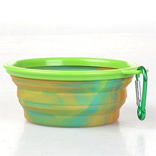 Feroni Fashion & Colorful Camouflage Pet Silicone Bowl Portable Food Drinking Water Foldable With Mountaineering Buckle Easy To Carry Green ()