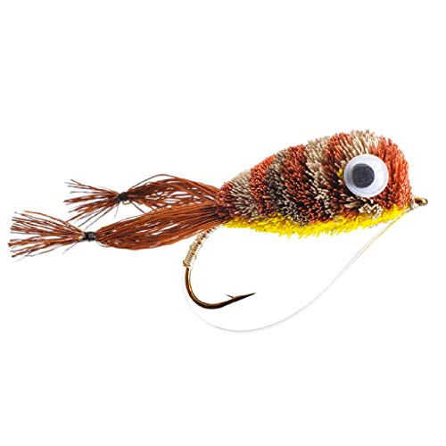 - Bass Deer Hair Frog Popper Fly | Size 2 | 4 Pack (Kicker Frog)