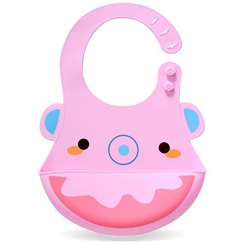Silicone Baby Bibs, Kekemonkey Waterproof Baby Drool Bibs with Wide Pocket BPA-Free Easily Wipe Clean Cute Cartoon Design for Unisex Infant Babies Toddlers (6 To 48 Months) Pink