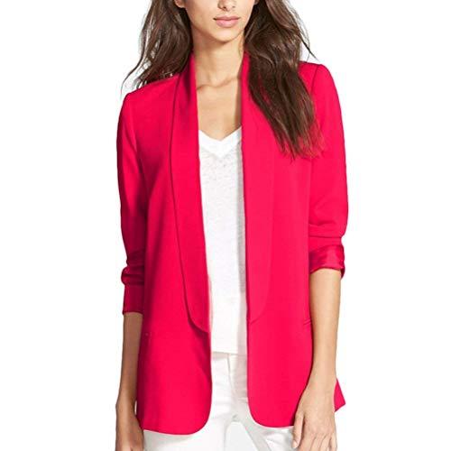 Giacca Leisure Puro Lunga Bavero Suit Outerwear Donna Manica Alta Maglia Colore Cappotto A Business Autunno Di Huixin Rosso Qualità Tailleur n6xPqS