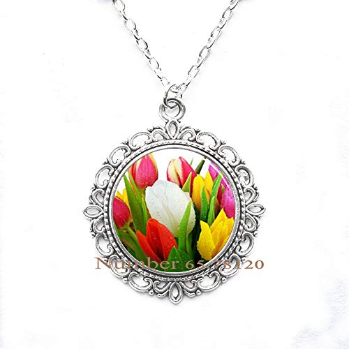 Yijianxhzao Colorful World Tulip Bouquet Handcrafted Necklace Pendant,Tulip Charm,Flower Charm,Flower Necklace,BV172 (V1)