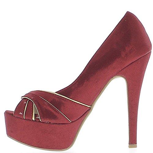 Scarpe luminose aperto rosso e dorato tacco spillo 13,5 cm e piattaforma