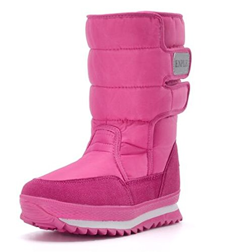 Frosty Red Lined Rose Snow WUIWUIYU Women Boots Fur fqnAwg1