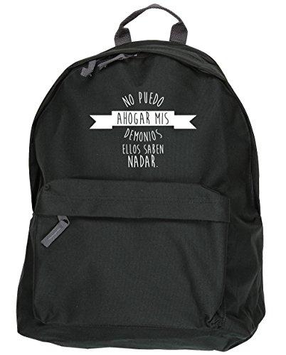 HippoWarehouse No Puedo Ahogar mis Demonios, Ellos Saben Nadar kit mochila Dimensiones: 31 x 42 x 21 cm Capacidad: 18 litros Negro