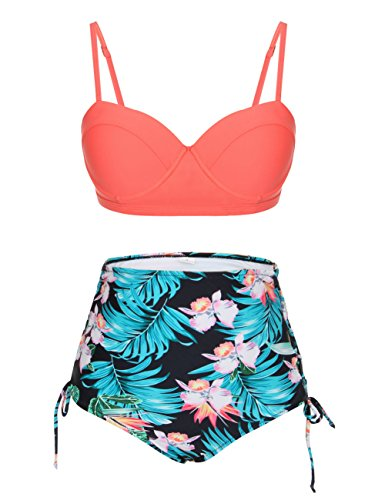 FeelinGirl Retro 50s Floral Halter High Waist Swimsuit Bathing Suits Bikini (M(US4-6), New Orange)