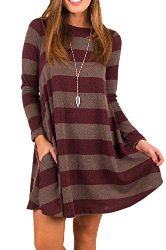 Jennyarn Womens Round Neck Printed Long Sleeve A-Line Dress Casual Long Tunic Top Red (Fancy Striped Pocket Dress Shirt)